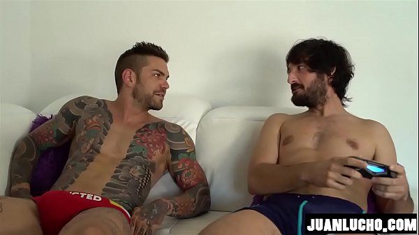 Juan Lucho and Bel Gris jerks off together their big dicks